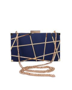 PP113 NAVY - Navy and Gold Structured Clutch