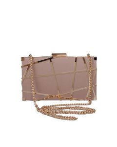 PP113 NUDE - Nude and Gold Structured Clutch