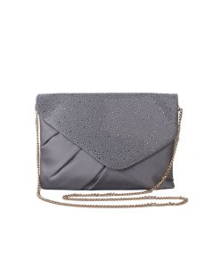 PP114 GREY - Grey Jewelled Envelope Clutch