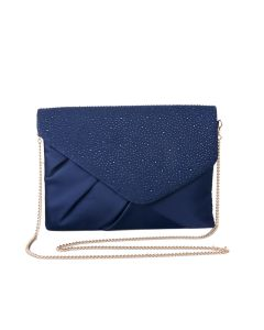 PP114 NAVY - Navy Jewelled Envelope Clutch