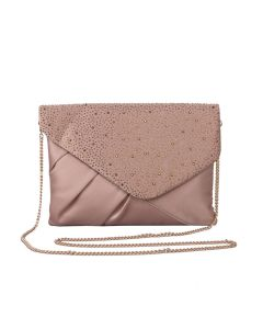 PP114 NUDE - Nude Jewelled Envelope Clutch