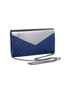 PP118 BLUE - Blue Envelope Quilted Clutch