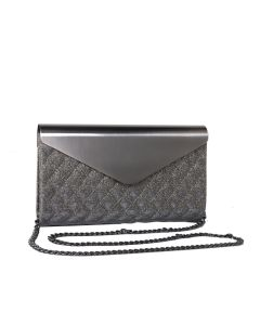 PP118 SILVER - Silver Quilted Envelope Clutch