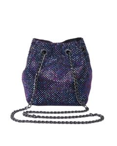 PP119 PURPLE - Purple Beaded Grab Pouch