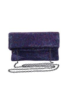 PP120 PURPLE - Purple Beaded Foldover Clutch