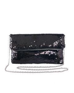 PP121 - BLACK - Black Sequin Foldover Clutch