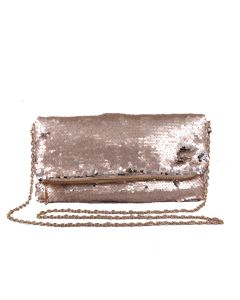 PP121 CHAMPAGNE - Champagne Sequin Foldover Clutch