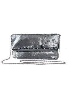 PP121GREY - Grey Sequin Foldover Clutch