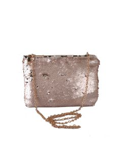 PP122 CHAMPAGNE - Champagne Sequin Clutch