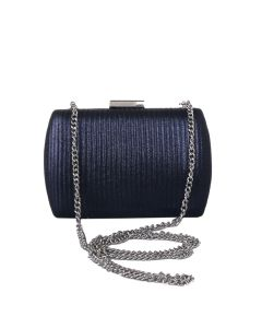 PP123 NAVY - Navy Shimmer Structured Clutch