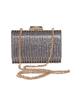 PP125 SILVER - Silver Sparkle Structured Clutch