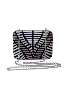 PP129 BROWN - Brown and Silver Structured Clutch