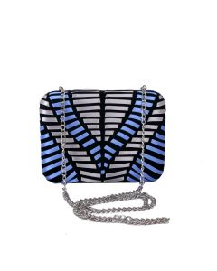 PP129 NAVY - Blue and Silver Ribbon Structured Clutch