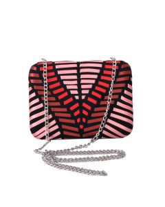 PP129 RED - Red and Pink Ribbon Structured Clutch
