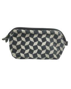 PP132 GREY - Large Grey and White Make Up Bag