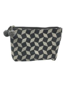 PP140 GREY - Small Grey and White Make Up Bag