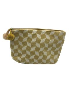PP140 YELLOW - Small Yellow And White Make up Bag