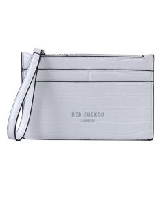 PP143 WHITE - White Croc Effect Purse